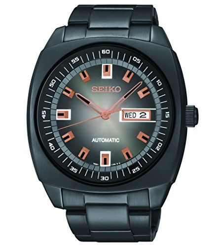 Seiko Mens SNKM99 Black Stainless Steel Automatic Watch -- You can find out more details at the link of the image.