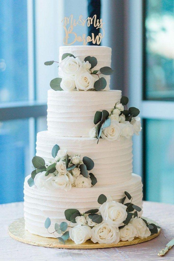 ❤52 dreistufige weiße Linie Textur Hochzeitstorte 36