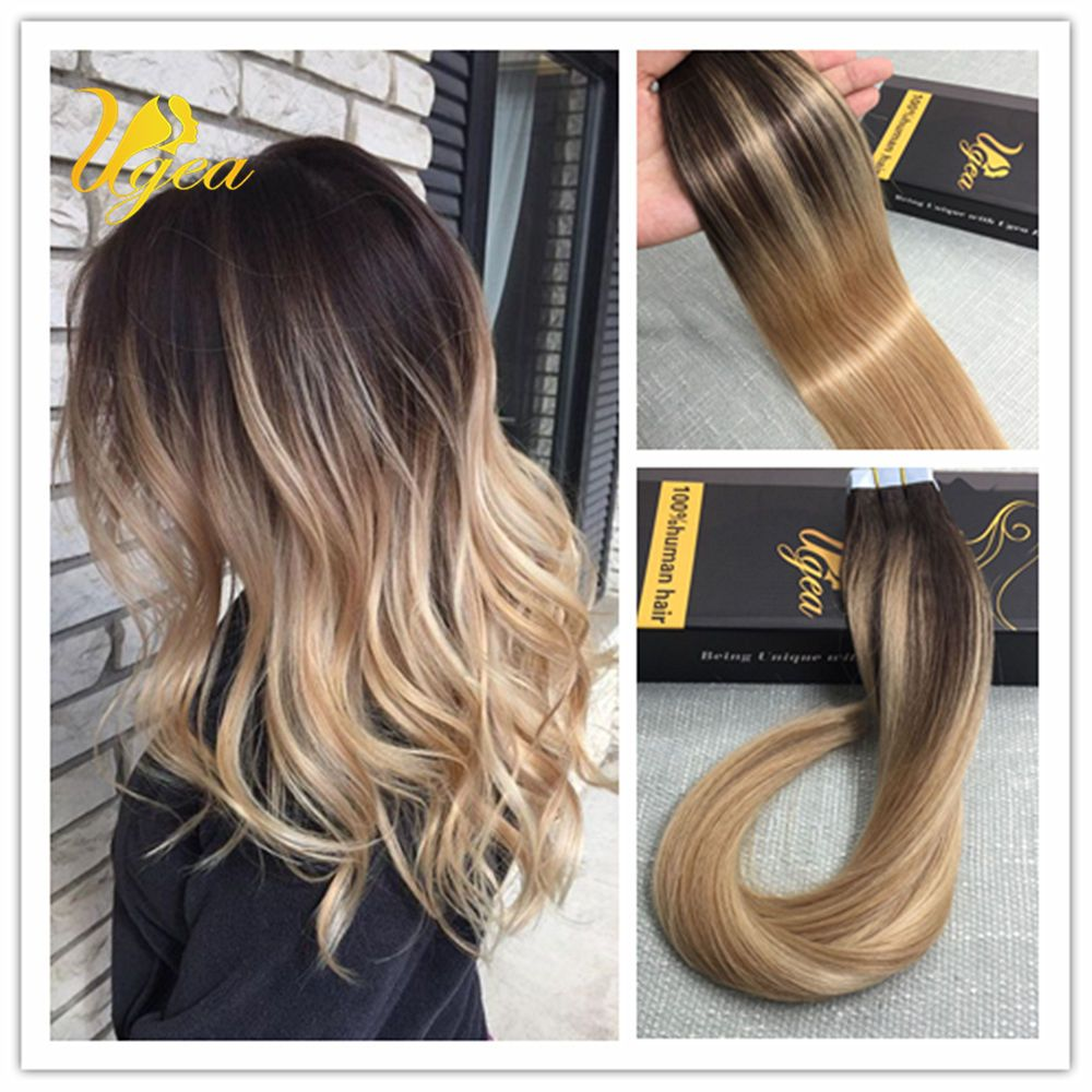 Dark Brown To Ash Blonde Multi Toned Skin Weft Remytape In Human