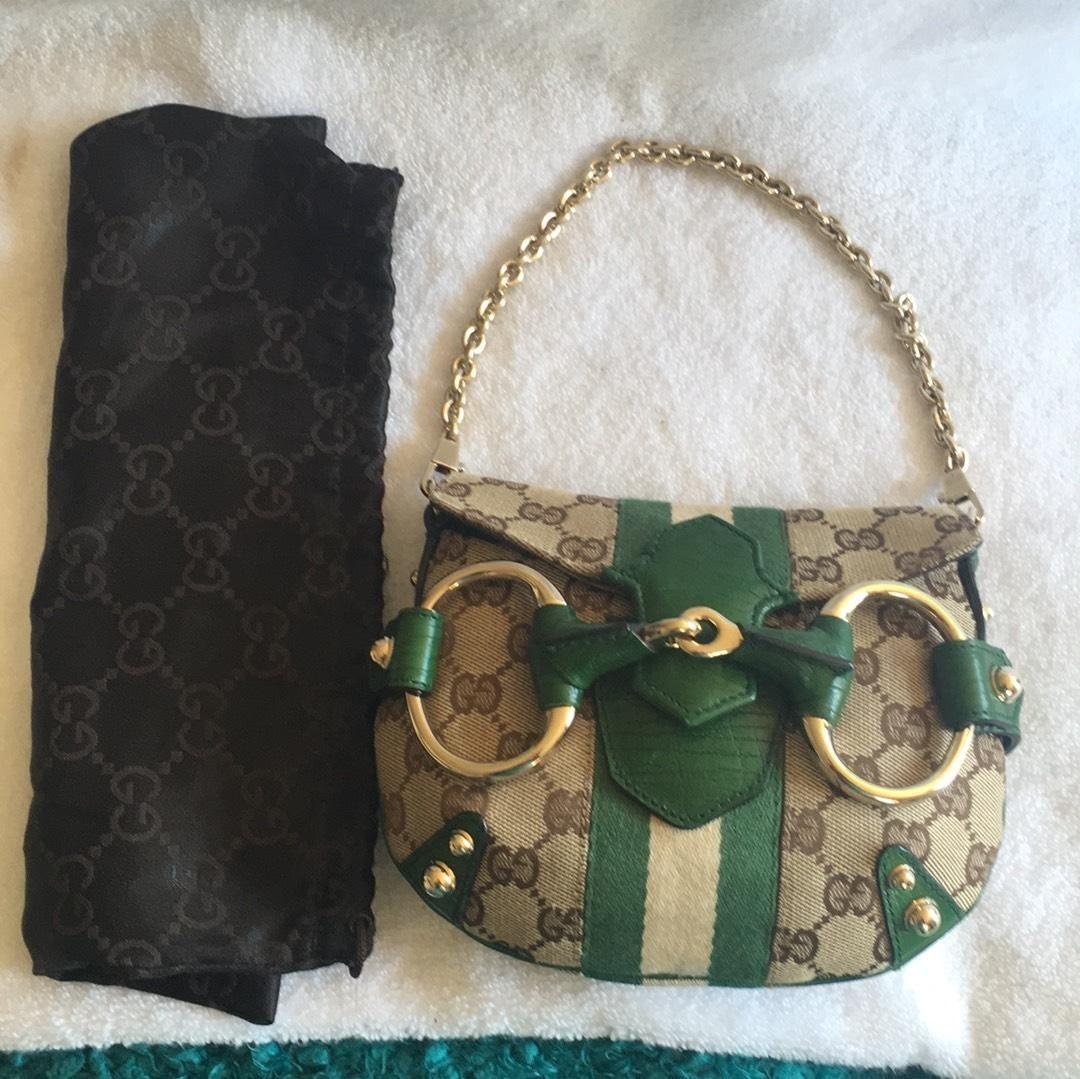 972fa6d39 Chain Bag Mini Tom Ford Era Beige Green Leather and Gg Monogram ...