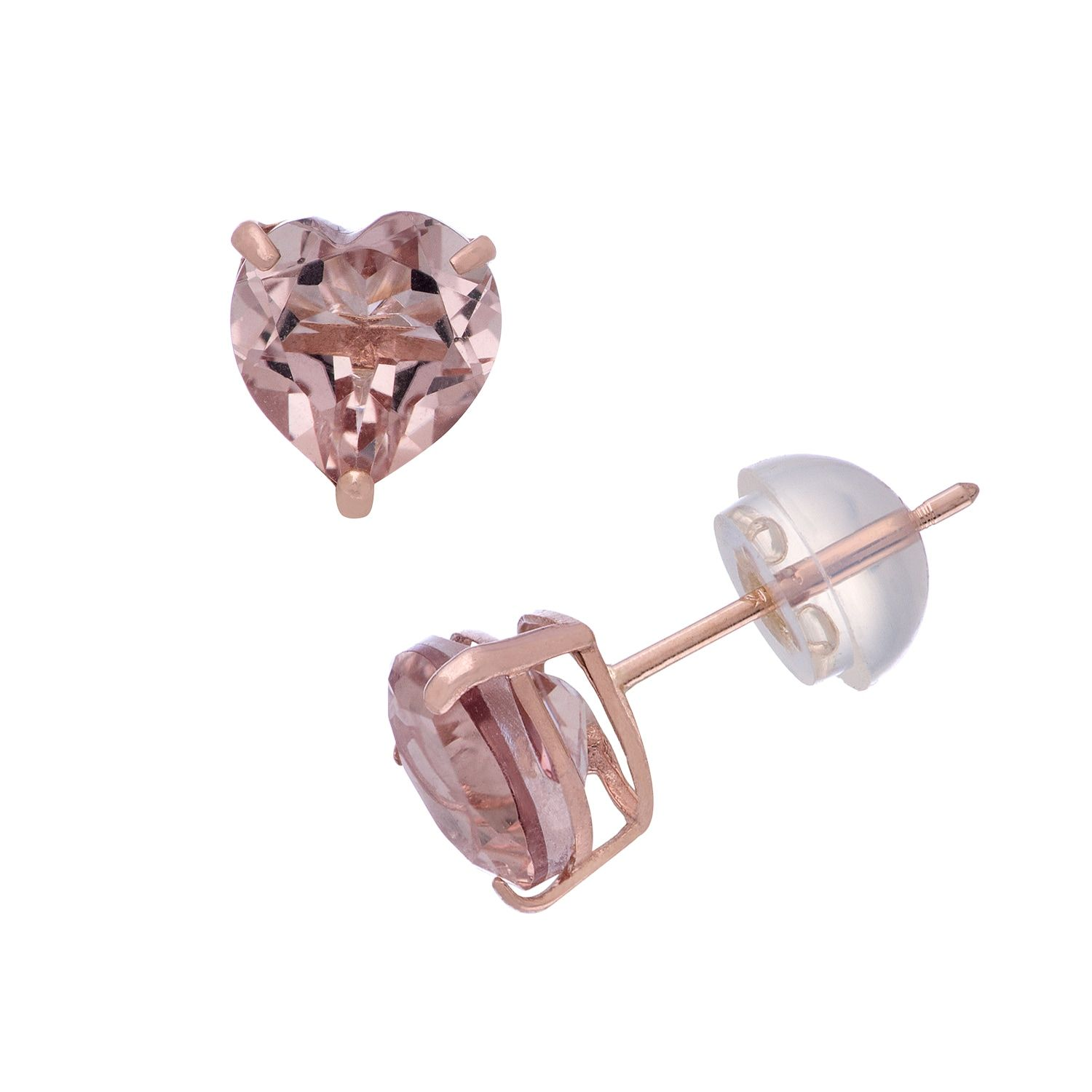 morganite l gold pick rose pink cushion stud peach from diamond earrings