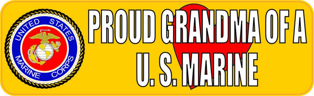 Stickertalk Proud Grandma Of A U S Marine Vinyl Sticker 10 Inches X 3 Inches Branding Materials Bumper Stickers Lettering