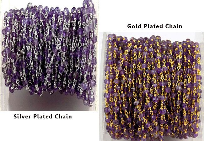 10 Feet Amethyst Faceted Gemstone Rosary Beaded Chain 3.5-4mm Fabulous Rosary Chain For Girls And Women #rosaryjewelry