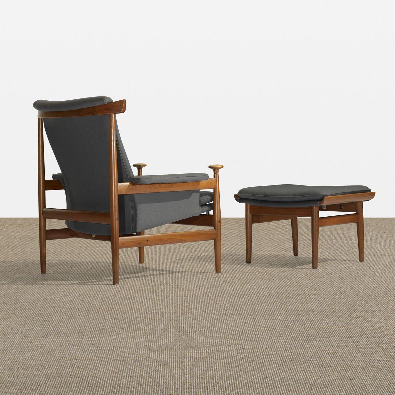 scandinaviancollectors finn juhl bwana chair with ottoman 1962