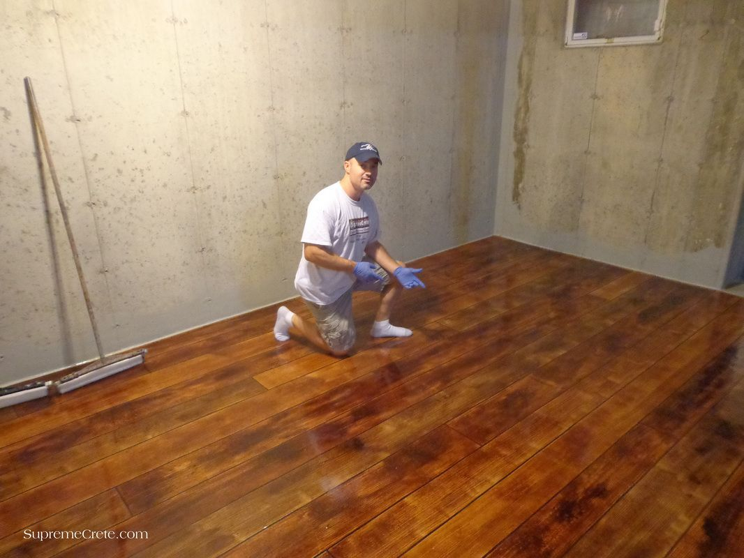 Concrete Wood Basement Floor Staining