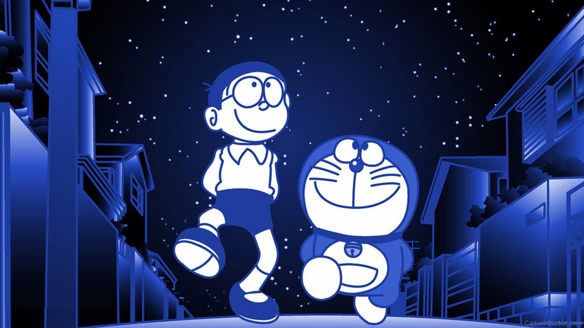 Wallpaper Doraemon Walking With Nobita In Midnight 漫画の壁紙
