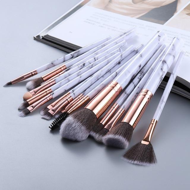 FLD5/15Pcs Make-up Pinsel Set Kosmetik Puder Lidschatten Foundation Rouge Blending Beauty Make Up Kabuki Pinsel Werkzeuge Maquiagem – 15pcs weiß / Russische Föderation