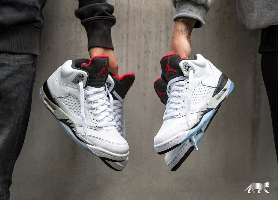 d6d6ff614 Nike Air Jordan 5 Retro *White Cement* (White / University Red - Black -  Matte Silver)
