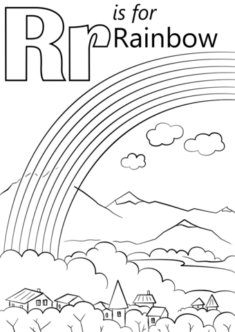Letter R is for Rainbow coloring page from Letter R category. Select ...
