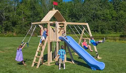 The Cedarworks Frolic 529 Is Jam Packed With Fun Swing Set Playset Outdoor Wooden Swing Set