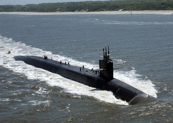 Kings Bay, Ga. (April 11, 2006) The Ohio-class guided missile submarine USS Florida (SSGN 728) makes her way through Cumberland Sound to Naval Submarine Base Kings Bay. Florida will be officially welcomed to her new home in Kings Bay with a return to service ceremony scheduled for May 25, 2006 in Mayport, Fla. Florida is the second of four SSBN submarines to be converted to the guided missile SSGN platform. U.S. Navy photo by Photographers Mate 2nd Class Lynn Friant (RELEASED)