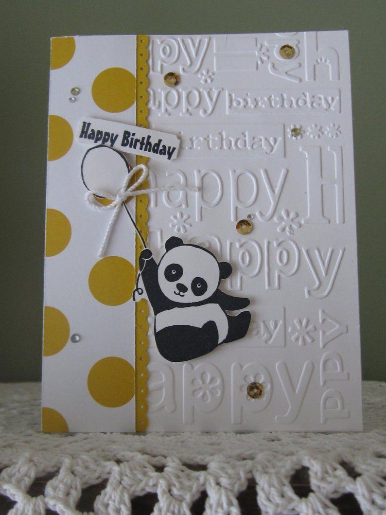Handmade Greeting Card Happy Birthday Cute Panda Bear Panda Birthday Cards Panda Card Kids Birthday Cards