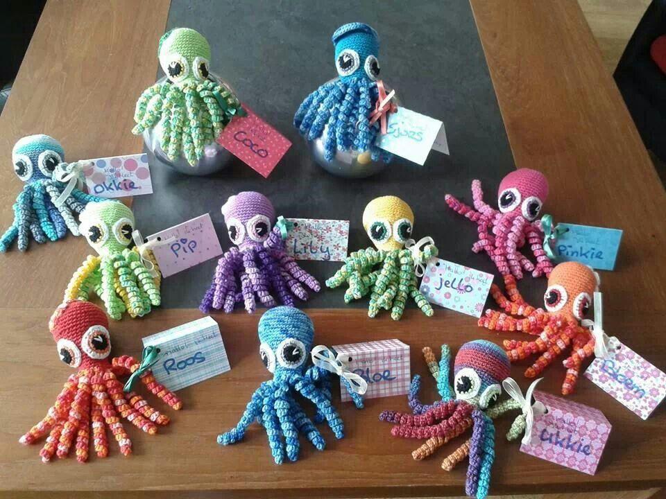 Deze inktvissen zijn gemaakt door Yvonne Gerichhausen.