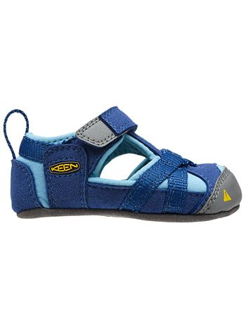 66f06f218471 Quite possibly the cutest KEEN sandal out there. The KEEN Seacamp Crib  infant crib shoe is lightweight and flexible. KEEN Seacamp True Blue Blue  Grotto Soft ...