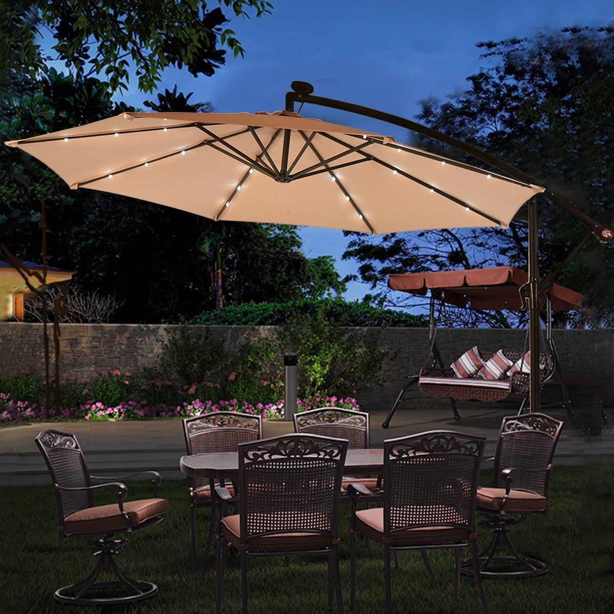 10 Patio Hanging Umbrella Sun Shade With Solar Led Lights Patio Shade Large Patio Umbrellas Best Patio Umbrella