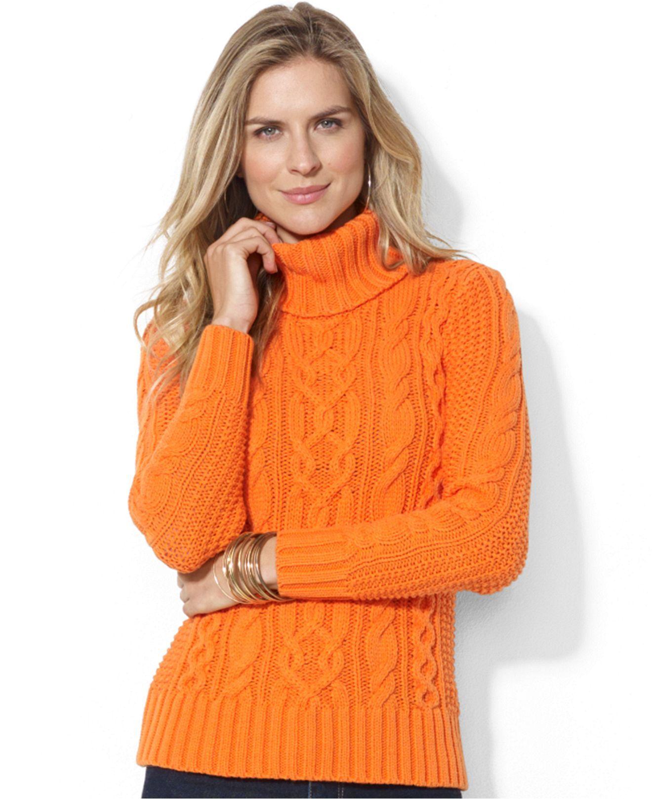 Lauren Jeans Co Cable Knit Turtleneck Sweater Sweaters Women