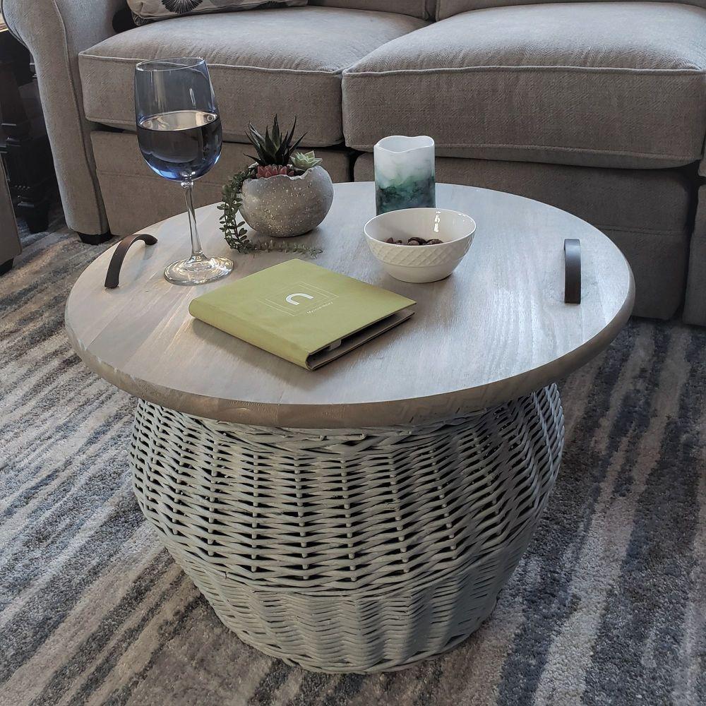 How To Make A Diy Wicker Storage Basket Tray Table Wicker Baskets Storage Diy Coffee Table Simple Coffee Table Coffee table with storage baskets