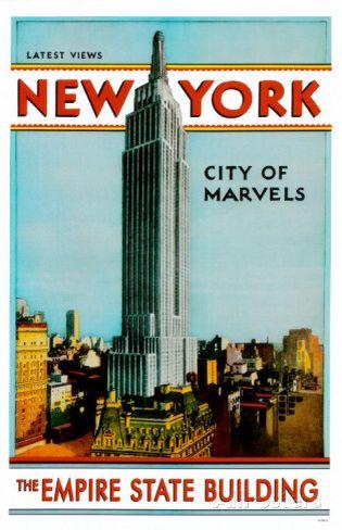 Nueva York Empire State Building viajar Cartel Publicidad Minimalista