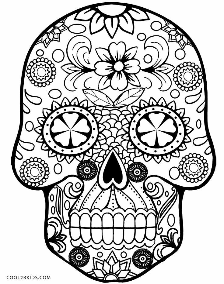 Sugar Candy Skulls Coloring Pages