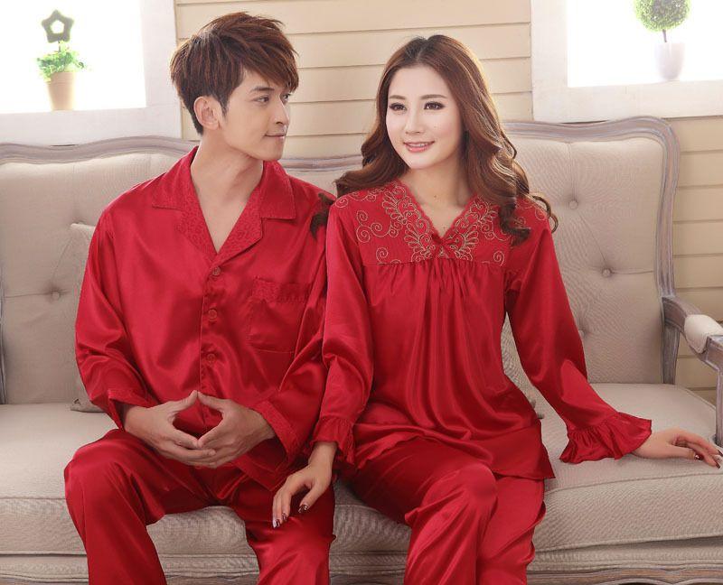 e72033aef4 ... silk mens pajama sets men sleepwear male sleeplounge Chinese red  wedding  best loved d96c0 697d3 XFN Brand Purple Satin Silk Couple Pajamas  Long-Sleeved ...
