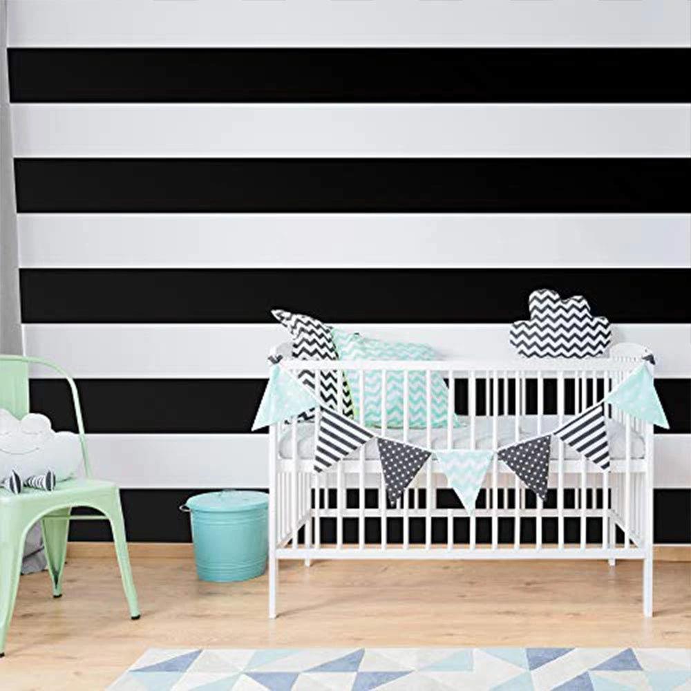 "Black 6"" Wide Stripe Decal Roll Black Wall Tape Black Peel"