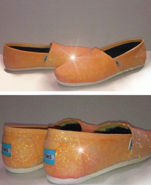 a81b6c6fbd06 Womens Sparkly Glitter Toms Flats shoes bridal Bride Wedding Comfortable  Tangerine Orange - Glitter Shoe Co