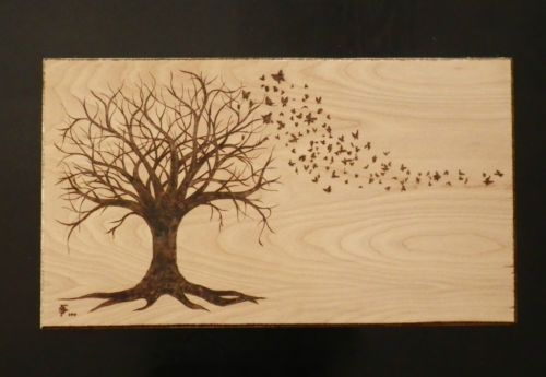 Unique Butterfly Tree Nature Pyrography Wood Burner Wood Burning Patterns Wood Carving Art Wood Burning Art