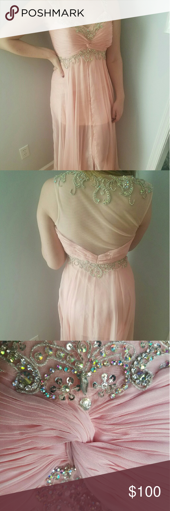 Prom dress light pink layered prom dress opening in front to show