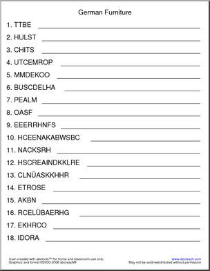 German Unscramble The Words Furniture From Abwaschbecken To