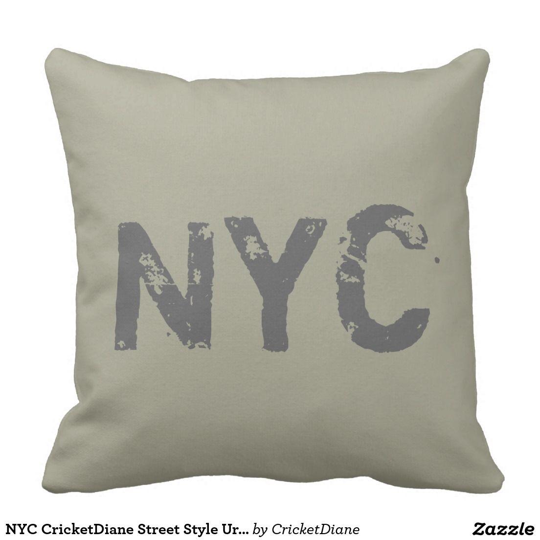 NYC CricketDiane Street Style Urban Graffiti Olive Throw Pillow ...