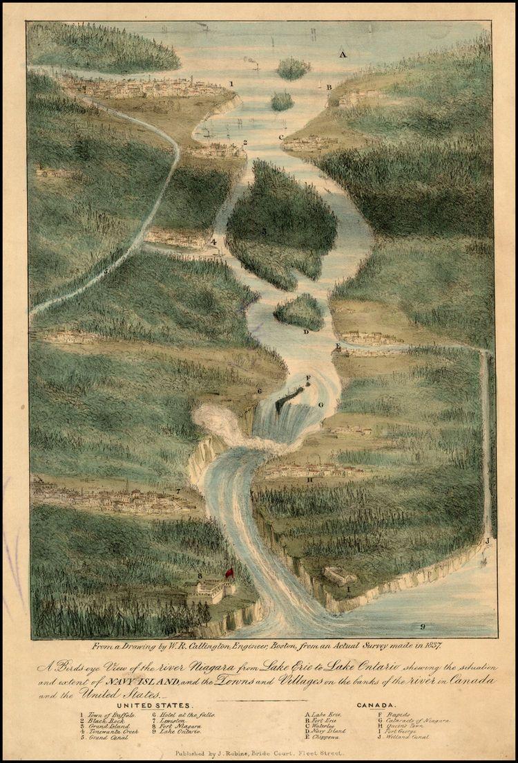 Niagra 1837 Birds eye view, Lake ontario, Niagara region