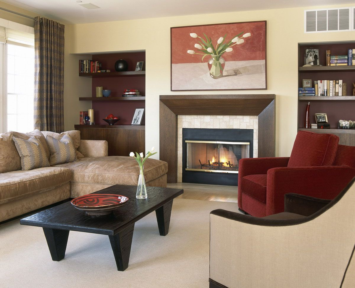 Designing Living Room Accent Wall With Brown Furniture In