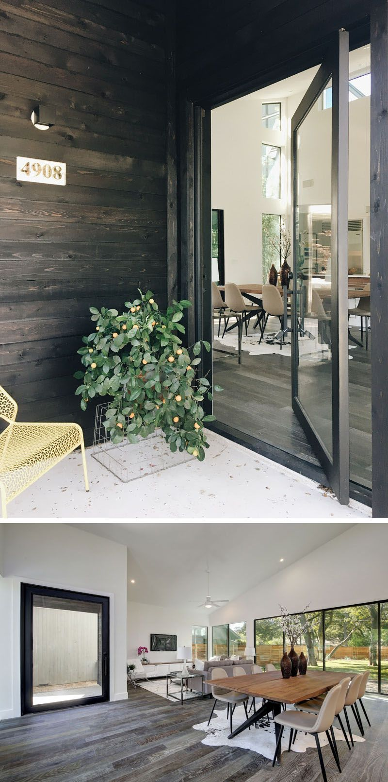 The Covered Entryway On This Modern House Leads To Front Door And Instead Of A More Traditional Solid Wood Has Large Pivoting Gl