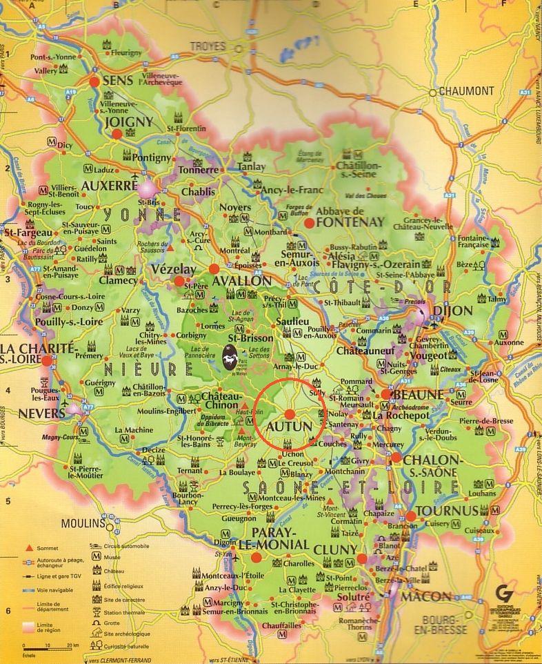 carte de la Bourgogne - Yonne - Côte d'Or - Nievre - Saône ...