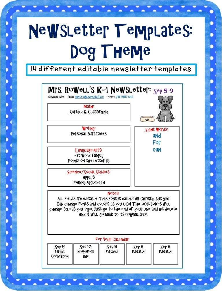 editable newsletter template dog themed doggy classroom