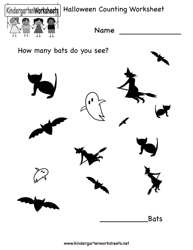 Kindergarten Halloween Counting Worksheet Printable | Worksheets ...