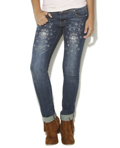 Festival Embellished Roll Cuff Jean from Wet Seal