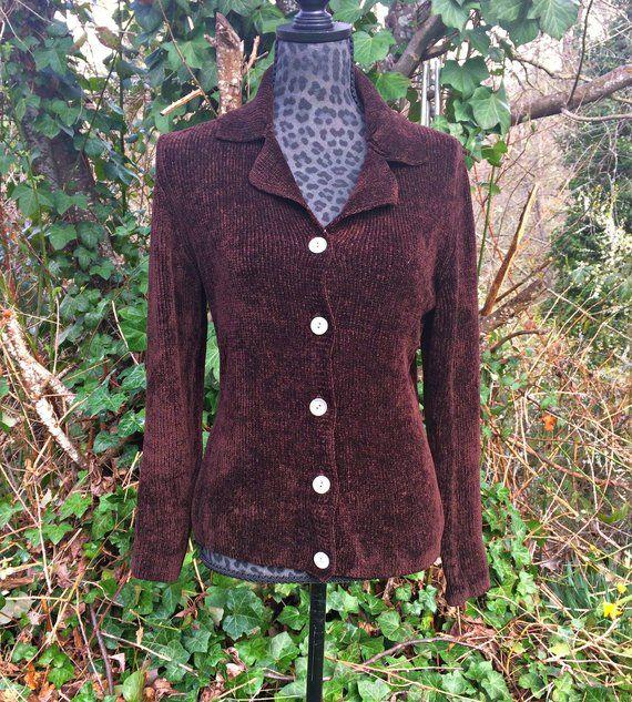 Brown Silk Womens Cardigan Sweater Eddie Bauer Chocolate Brown