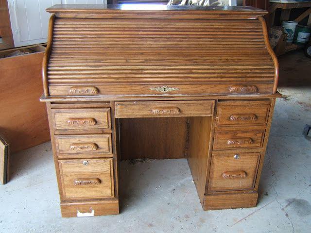 Desk Makeover How To Update An Oak Rolltop Desk Desk Makeover