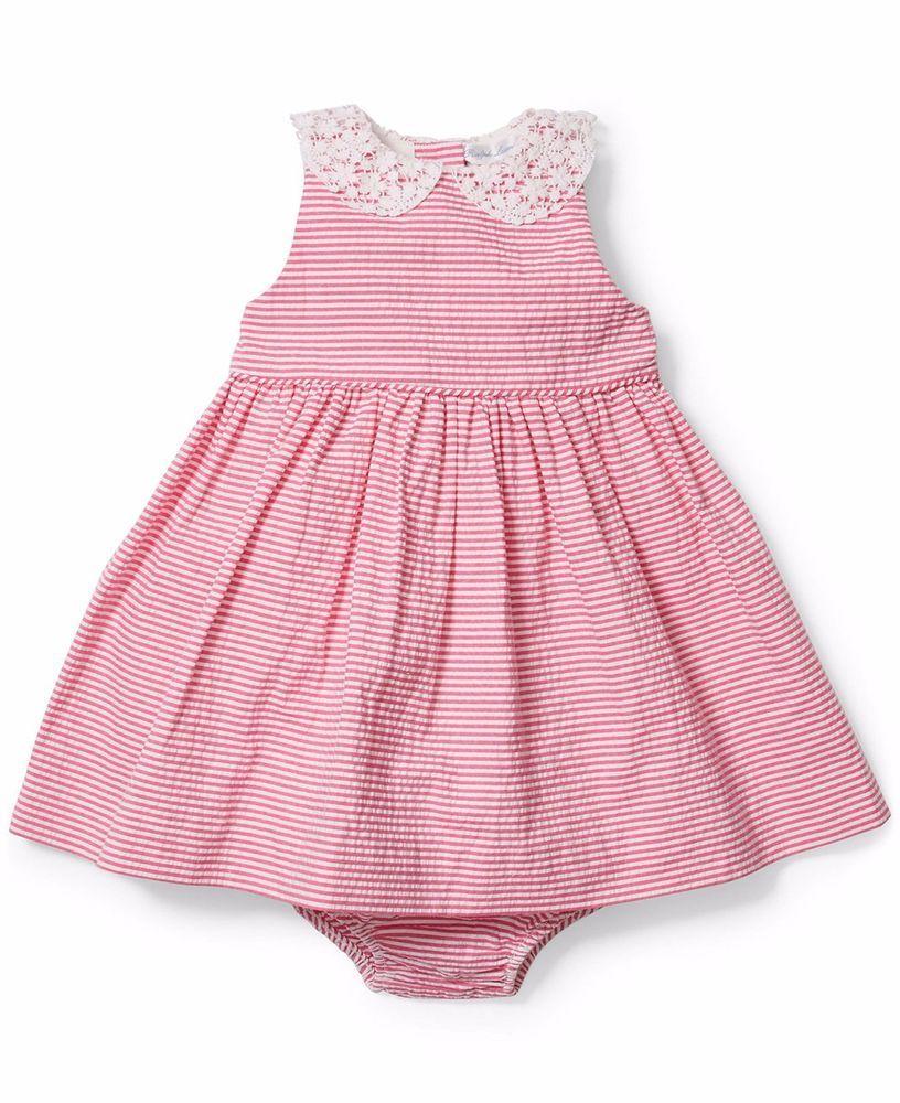 ed3dad2469560 NWT Ralph Lauren Baby Girls Seersucker Sleeveless Dress & Bloomer Size 6  Months #RalphLauren #Formal
