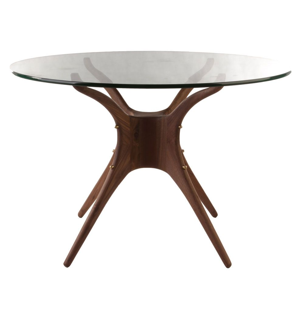 Karizona Solid Walnut And Glass Dining Table Round Matt Blatt