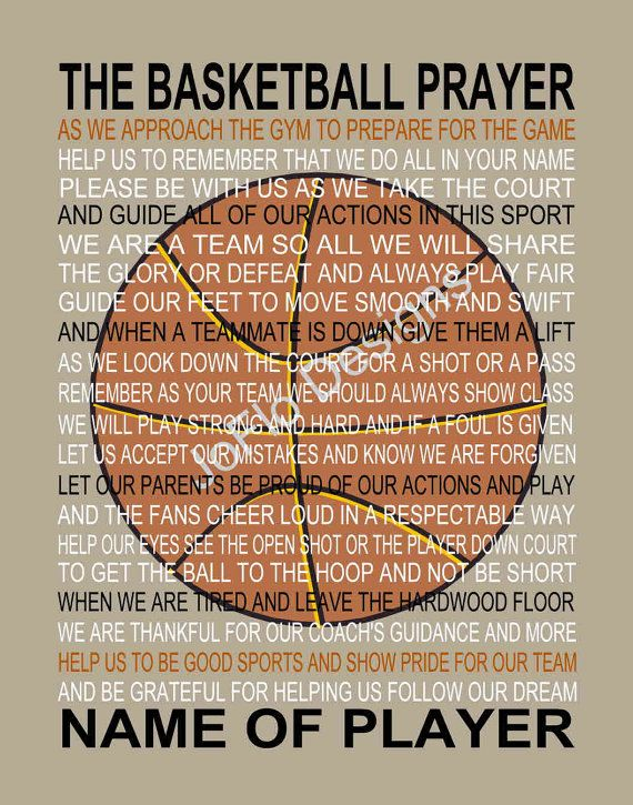 The Basketball Team Prayer personalized, Basketball Prayer ...