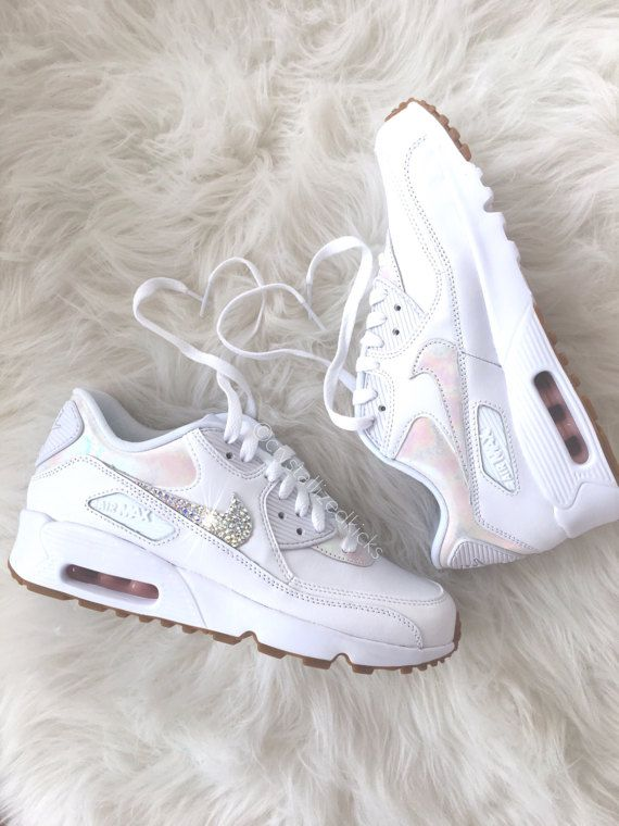 Nike Air Max 90 Leather Swarovski Crystal White Trainers