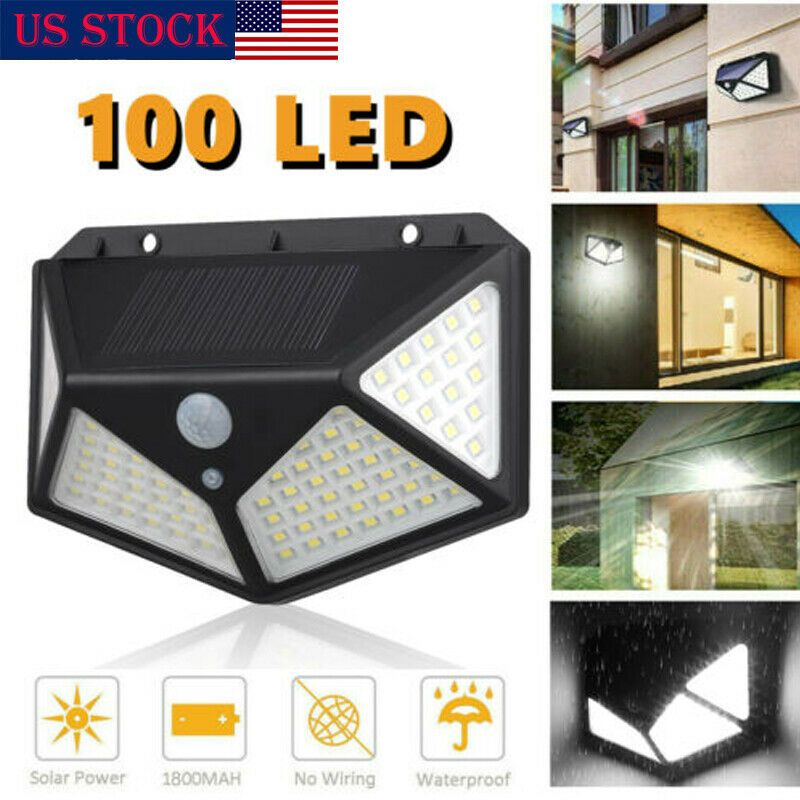 100LED Solar Wall Light Motion Sensor Waterproof Outdoor Garden Security Lamp UK