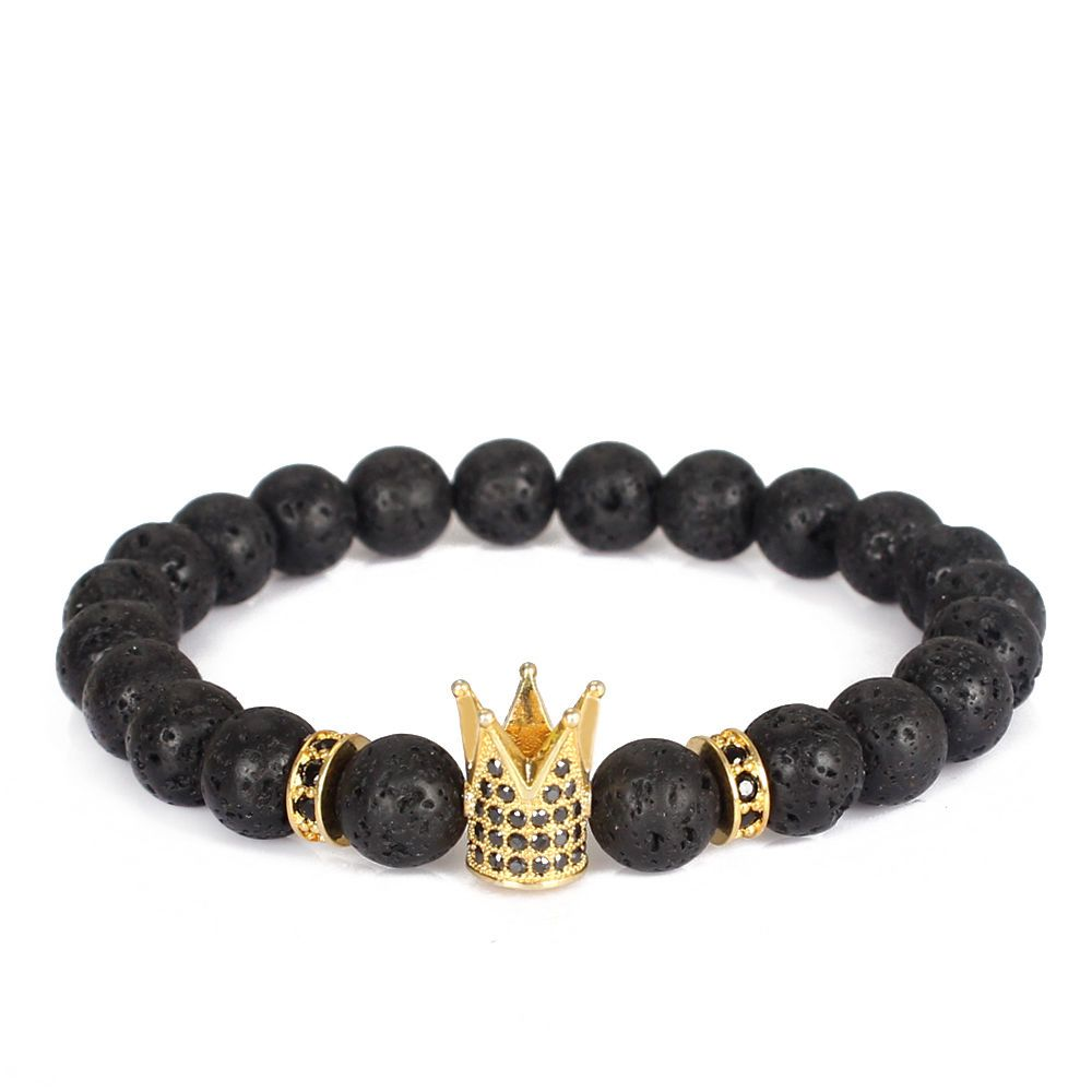 Imperial Crown Stone Bracelet Men Bracelets Trendy Lava Natural Charm Bead