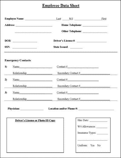 Employee Information Sheet Business, Binder and House cleaning