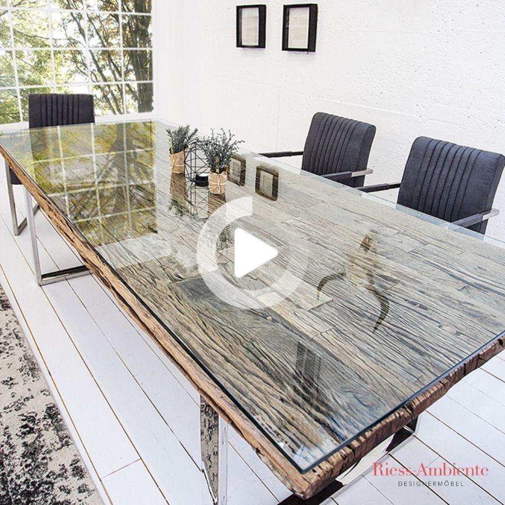 Masiva Mesa De Comedor Barracuda 200cm Antiguos De Madera De Teca Con Guias De Acero Pies Incl Dining Table Teak Wooden Tables