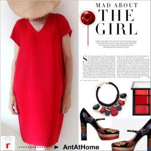 Red V-neck Dress (AntAtHome Shop)