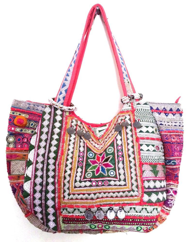 Vintage Banjara Bag Tribal Ethnic Gypsy Mirror Work Large Multi Color Tote