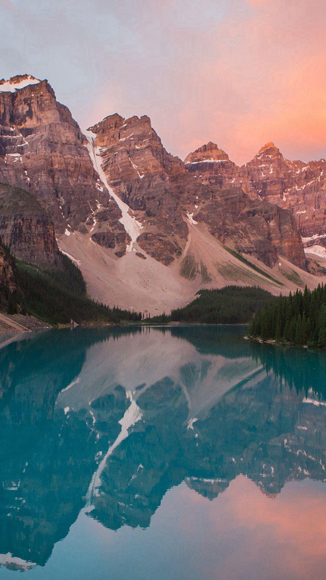 Lake Mountain Pink Sunset Nature IPhone 6 Wallpaper